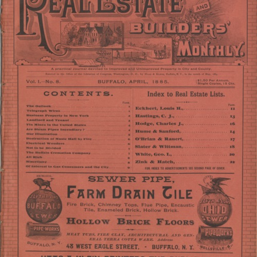 Real estate and builders' monthly : April  1885 ; Volume 1, No. 8