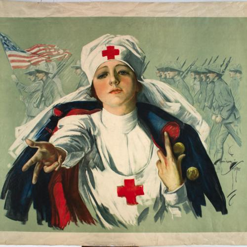 [Image, foreground: Red Cross worker extending her hand. Background: American troops marching with American flag]