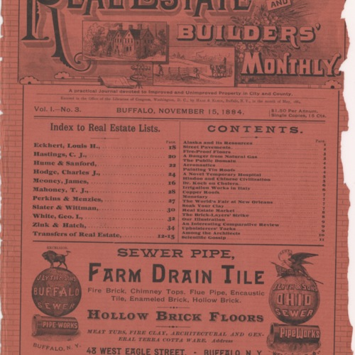 Real estate and builders' monthly : November 1884 ; Volume 1, No. 3
