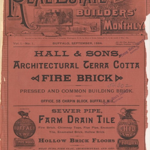Real estate and builders' monthly : September 1884 ; Volume 1, No. 1