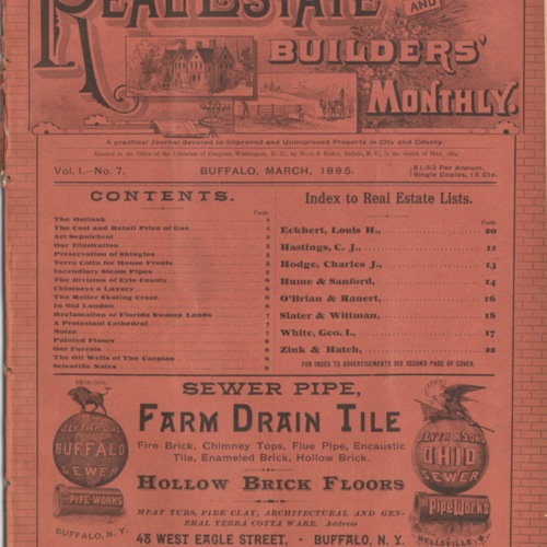 Real estate and builders' monthly : March  1885 ; Volume 1, No. 7