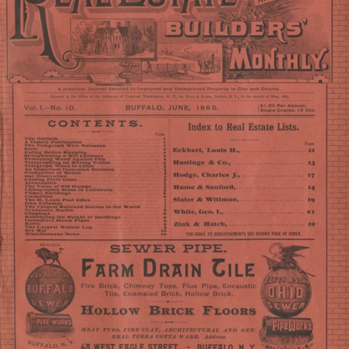 Real estate and builders' monthly : June  1885 ; Volume 1, No. 10