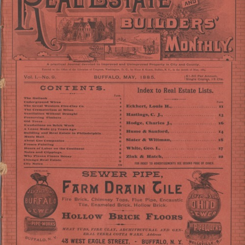 Real estate and builders' monthly : May  1885 ; Volume 1, No. 9