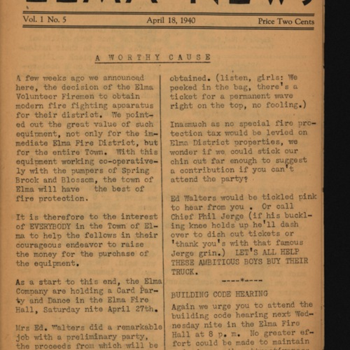 Elma News : April 18, 1940