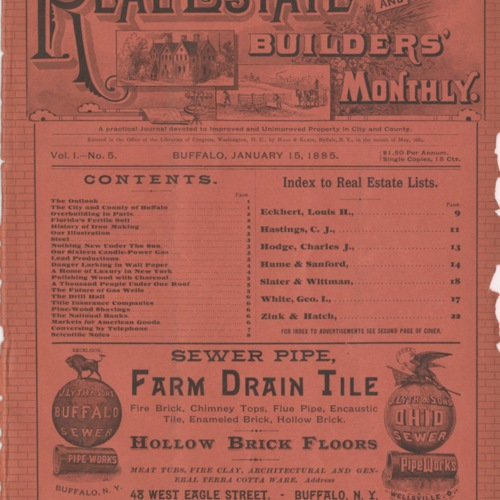 Real estate and builders' monthly : January 1885 ; Volume 1, No. 5