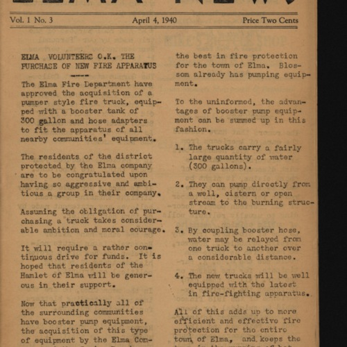 Elma News : April 4, 1940