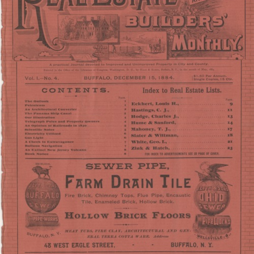 Real estate and builders' monthly : December 1884 ; Volume 1, No. 4