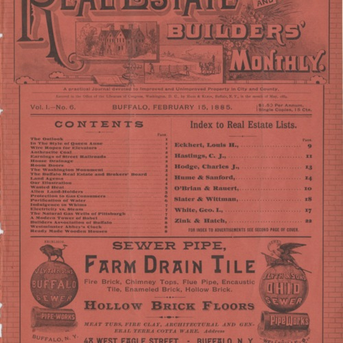 Real estate and builders' monthly : February 1885 ; Volume 1, No. 6